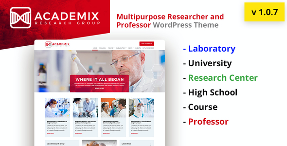 test Academix - Multipurpose Education, Researcher and Professor WordPress Theme