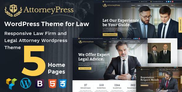 Test du thème WordPress Attorney Press , voici notre avis