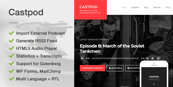 test Castpod - A Professional WordPress Theme for Audio Podcasts