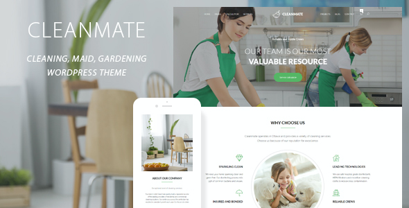 test CleanMate - Cleaning Company Maid Gardening WordPress Theme