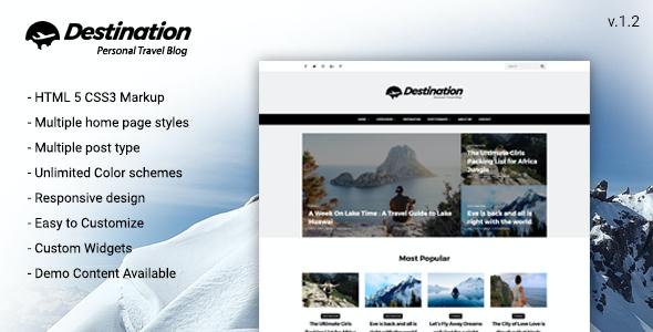 Test du thème WordPress Destination Travel WordPress Blog Theme , voici notre avis