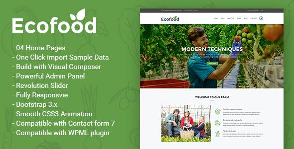 Test du thème WordPress Ecofood , voici notre avis