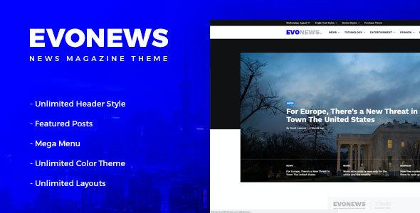 Test du thème WordPress Evonews , voici notre avis