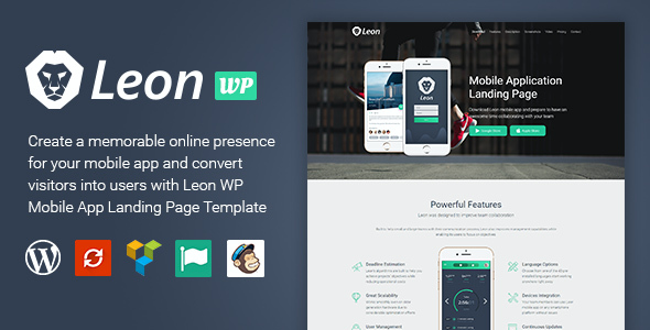 test Leon - WordPress Mobile App Landing Page