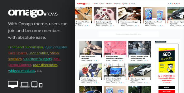 test Omago News - User Profile Membership & Content Sharing Theme