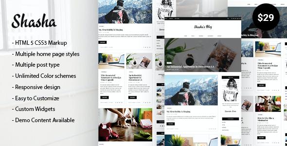Test du thème WordPress Shasha WordPress Blog Theme , voici notre avis