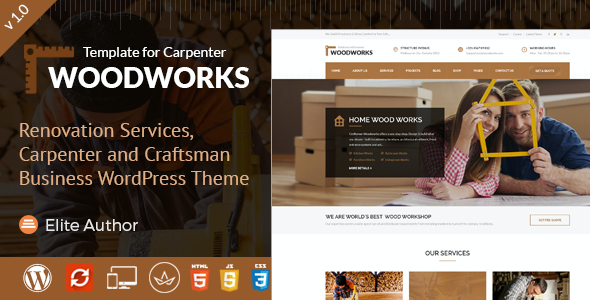 test Wood Works - Renovation Services, Carpenter and Craftsman Business WordPress Theme